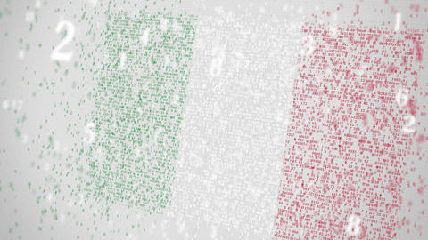 Falling numbers make up flag of ITALY. National information technology IT Footage