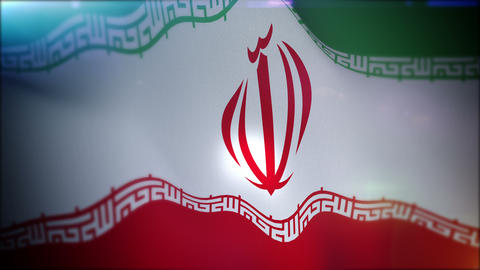 Flapping Flag of Iran in Slow Motion Animation