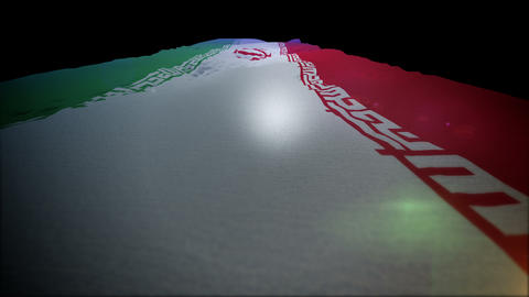 Fluttering Standard of Iran Going Up Animation