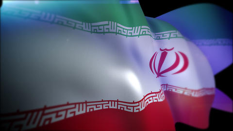 Flappping Flag of Iran in Slow Motion Animation