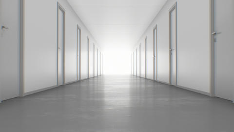 Walking to the Light Through the Endless Corridor with Closed Doors. Looped 3d Footage
