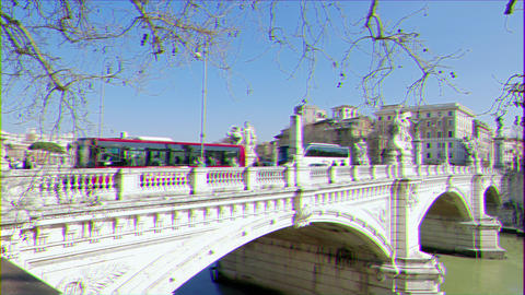 Glitch effect. Ponte Vittorio Emanuele II. Rome, Italy - February 18, 2015: constructed to designs Footage
