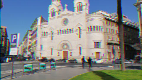 Glitch effect. Valdese Evangelical church at Piazza Cavour. church was founded in the 12th century Footage