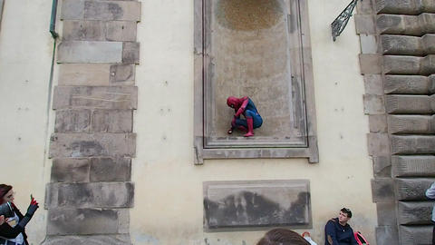 Spiderman Cosplay launches the web during the Lucca Comics And Games 2018 Archivo
