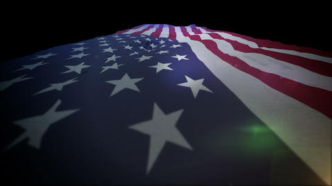 Active American Flag Going Up Animation