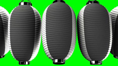 Black and white paper lantern on green chroma key Animation
