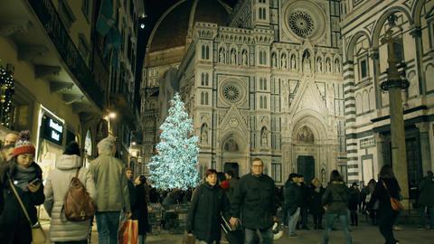 FLORENCE, ITALY - DECEMBER 26, 2018. Illuminated Christmas tree near famous GIF