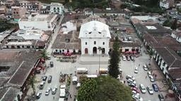 Backwards drone aerial view of El Retiro town near Medellin in Colombia Footage