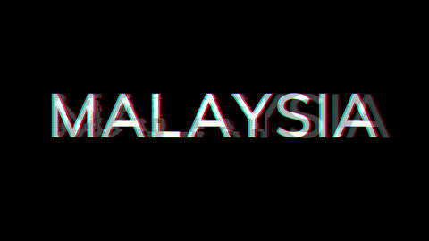 From the Glitch effect arises country name MALAYSIA. Then the TV turns off. Alpha channel Animation