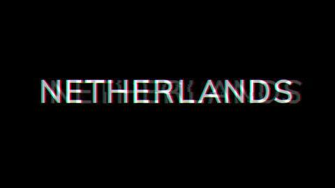 From the Glitch effect arises country name NETHERLANDS. Then the TV turns off. Alpha channel Animation