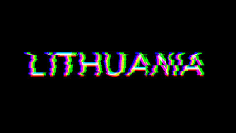 From the Glitch effect arises country name LITHUANIA. Then the TV turns off. Alpha channel Animation