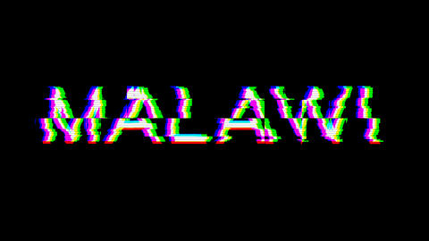 From the Glitch effect arises country name MALAWI. Then the TV turns off. Alpha channel Animation