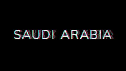 From the Glitch effect arises country name SAUDI ARABIA. Then the TV turns off. Alpha channel Animation