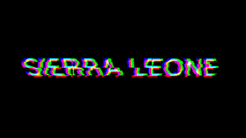 From the Glitch effect arises country name SIERRA LEONE. Then the TV turns off. Alpha channel Animation