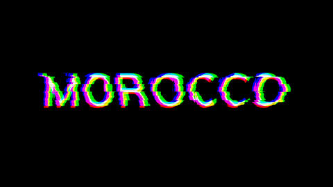 From the Glitch effect arises country name MOROCCO. Then the TV turns off. Alpha channel Animation