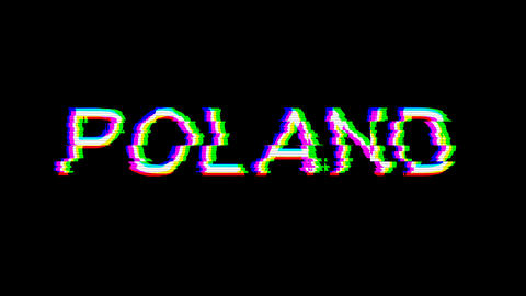 From the Glitch effect arises country name POLAND. Then the TV turns off. Alpha channel Animation