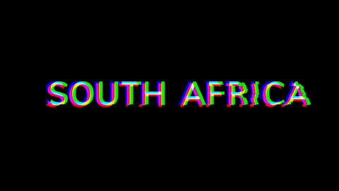From the Glitch effect arises country name SOUTH AFRICA. Then the TV turns off. Alpha channel Animation