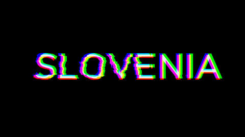From the Glitch effect arises country name SLOVENIA. Then the TV turns off. Alpha channel Animation