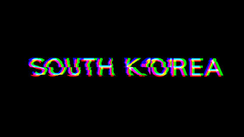 From the Glitch effect arises country name SOUTH KOREA. Then the TV turns off. Alpha channel Animation