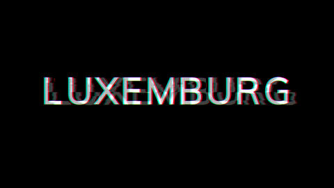 From the Glitch effect arises country name LUXEMBURG. Then the TV turns off. Alpha channel Animation
