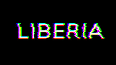 From the Glitch effect arises country name LIBERIA. Then the TV turns off. Alpha channel Animation