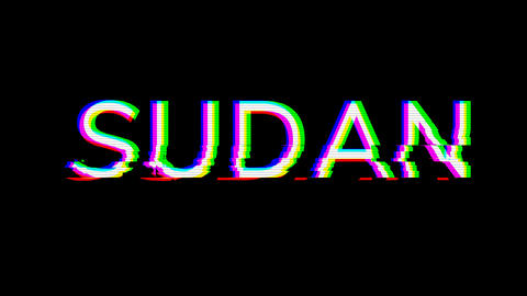 From the Glitch effect arises country name SUDAN. Then the TV turns off. Alpha channel Premultiplied Animation