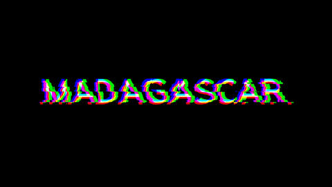 From the Glitch effect arises country name MADAGASCAR. Then the TV turns off. Alpha channel Animation