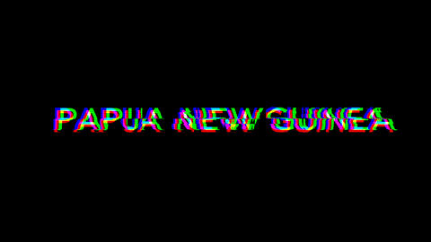From the Glitch effect arises country name PAPUA NEW GUINEA. Then the TV turns off. Alpha channel Animation