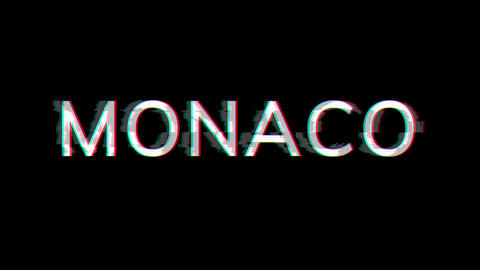 From the Glitch effect arises country name MONACO. Then the TV turns off. Alpha channel Animation