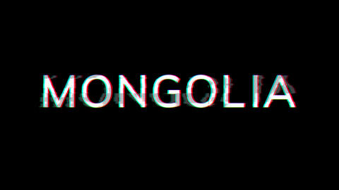 From the Glitch effect arises country name MONGOLIA. Then the TV turns off. Alpha channel Animation