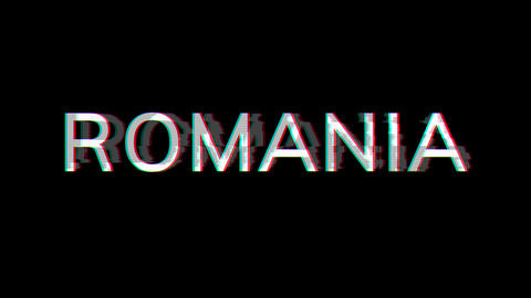 From the Glitch effect arises country name ROMANIA. Then the TV turns off. Alpha channel Animation