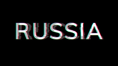 From the Glitch effect arises country name RUSSIA. Then the TV turns off. Alpha channel Animation