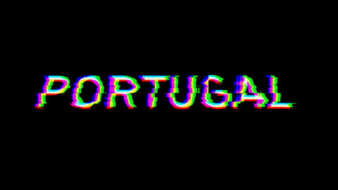 From the Glitch effect arises country name PORTUGAL. Then the TV turns off. Alpha channel Animation