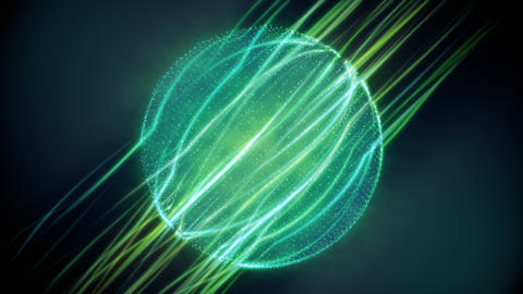 Green Magic Particular Sphere Looping Background Animation