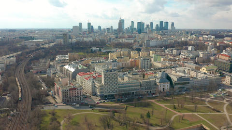 Establishing aerial shot of Warsaw downtown in the evening, Poland. 4K video Footage