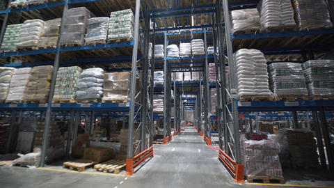 Palettes With Ordered Goods and Materials at Warehouse Footage