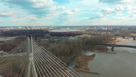 Establishing Aerial View of Warsaw, Stadium PGE, City Center, Palace of Culture Live Action
