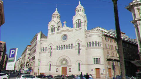 Glitch effect. Valdese Evangelical church at Piazza Cavour. church was founded in the 12th century Live Action