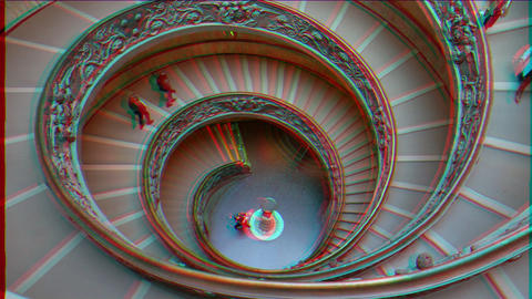 Glitch effect. Spiral Staircase. VATICAN - February 19, 2015: famous double spiral staircase at the Footage