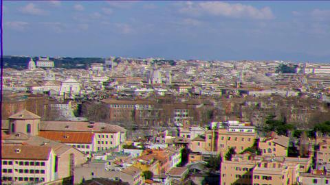 Glitch effect. Panorama of Rome. Passeggiata del Gianikolo. Rome, Italy Live Action