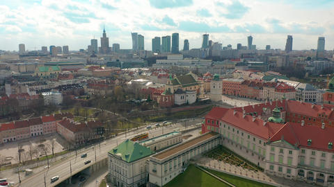 Warsaw Downtown Skyline City Time Lapse with clouds Dynamic, Poland Footage