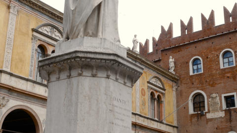 Piazza Dante, a statue representing the famous writer Dante Alighieri, the most Footage