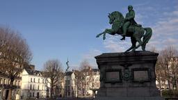 France Normandy Rouen equestrian statue on Place du General de Gaulle Footage