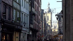France Normandy Rouen city center Rue du Gros Horloge with its clock tower GIF