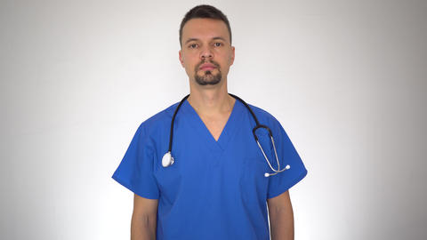 Portrait of Male Doctor Making No Finger Sign Live Action