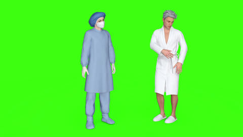 the doctor and the patient communicate green background ビデオ