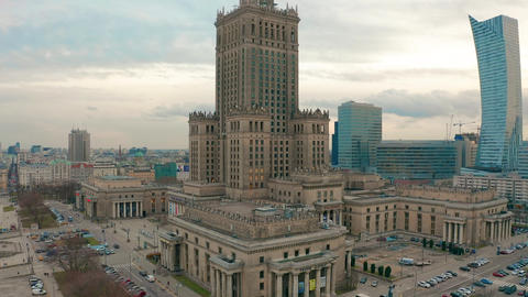 Aerial view of Warsaw dawntown, Palace of Culture, Poland Live Action