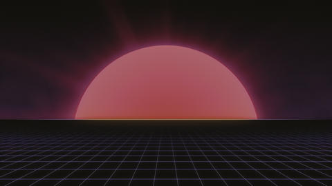 80s Retro Sun and Grid - Seamlessly Looping Animated Background Animation