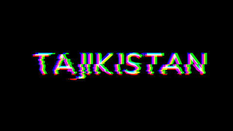 From the Glitch effect arises country name TAJIKISTAN. Then the TV turns off. Alpha channel Animation