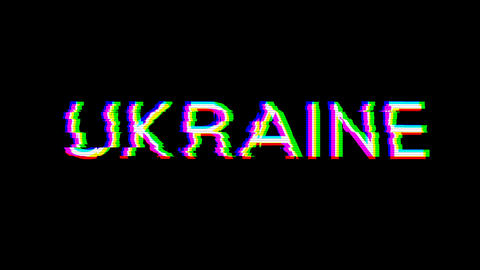 From the Glitch effect arises country name UKRAINE. Then the TV turns off. Alpha channel Animation